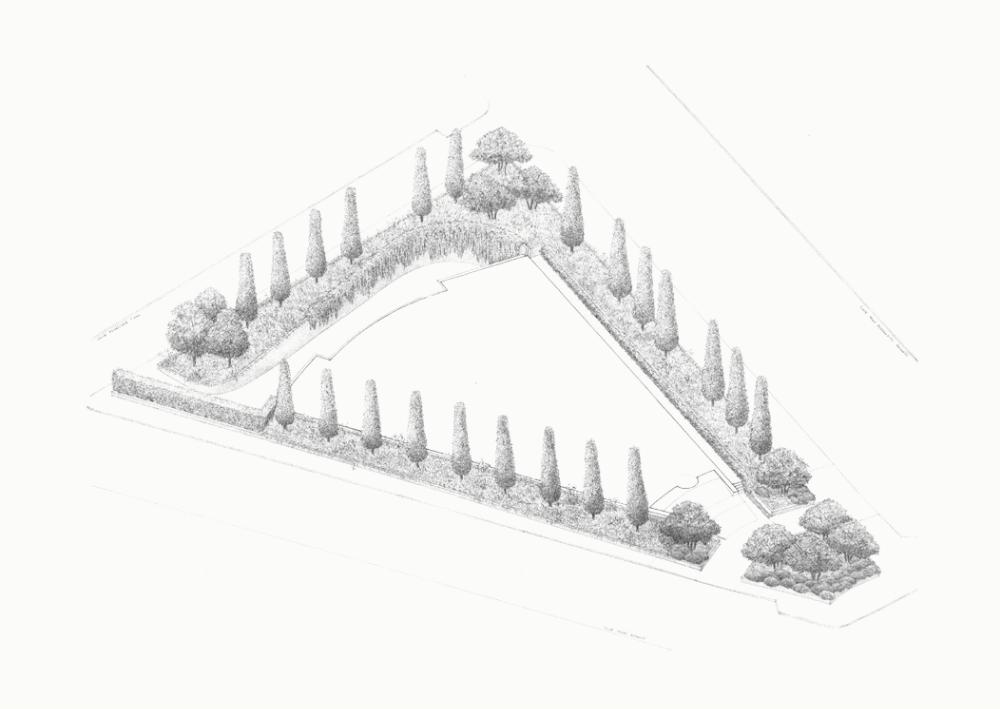 dibujo jardín edificio habana